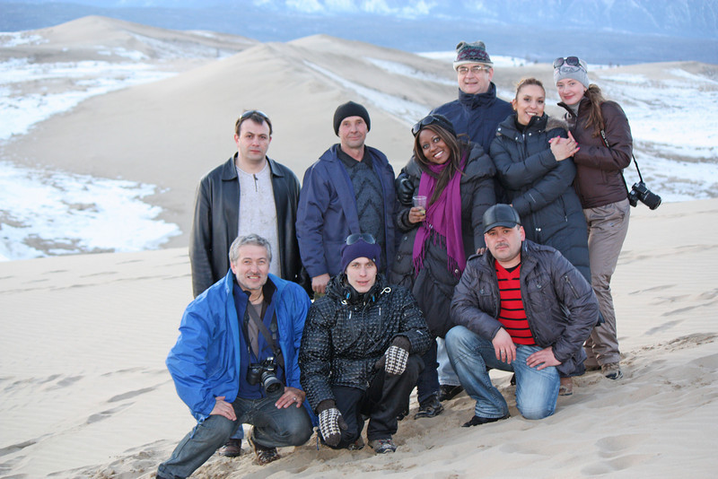 Representatives of the local administration & RT crew celebrating Staci's birthday in the Chara desert.