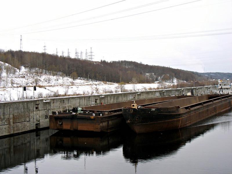 Barge on the bank of The Volga River. (Cheboksary, Chuvashia)