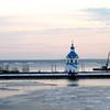 Church on the icy Volga. (Cheboksary)