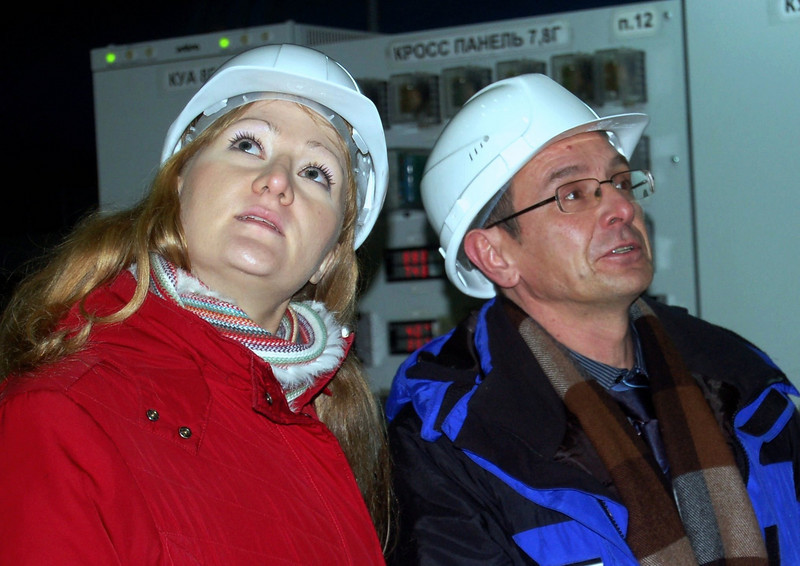 Lena inside Cheboksary's hydro-electric power plant.