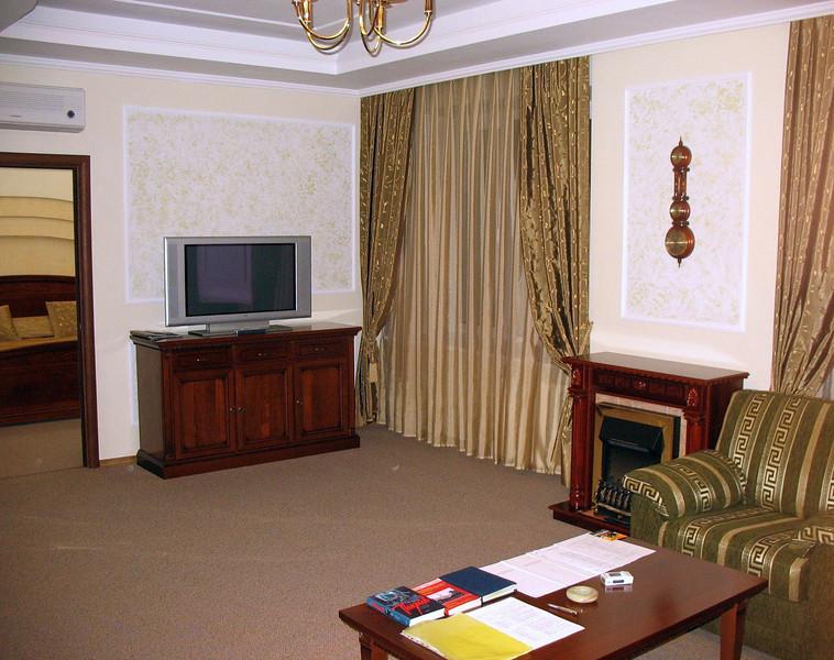 Suite's fireplace & flat screen TV.