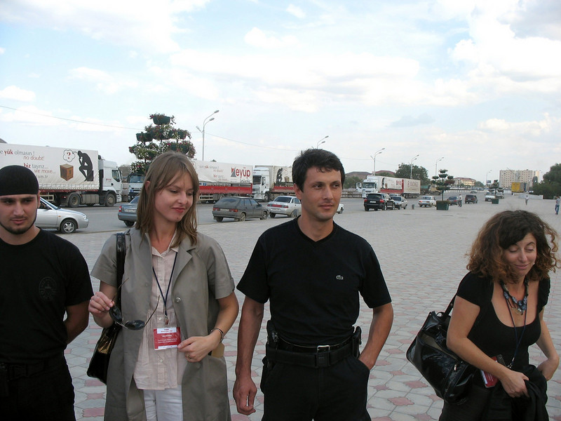 Men in black. Guarded by OMON. (Grozy, Chechnya)