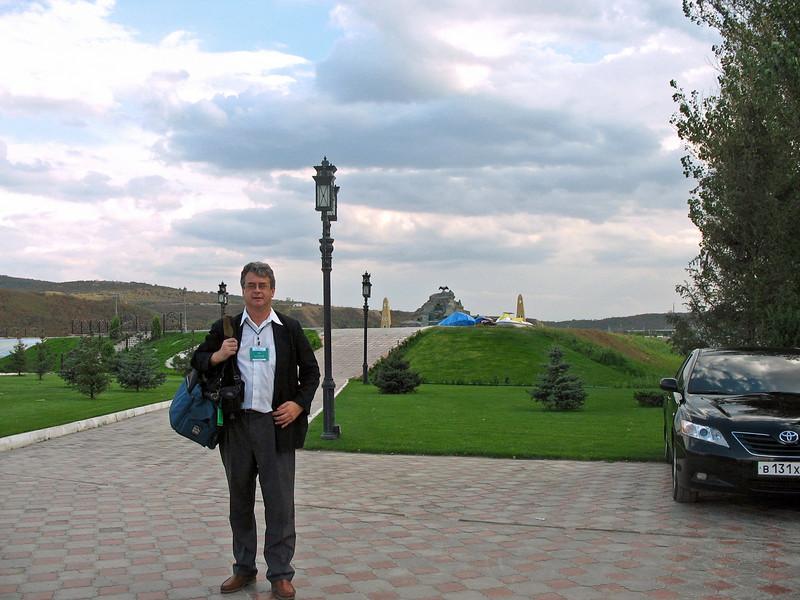 Approaching memorial to former President, Akhmad Kadyrov. (Grozny)