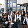 Boris Grebenshchikov, one of the founders of Russian Rock, arrives at the Elista Airport.
