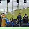 President Ilyumzhinov addressing concert crowd.