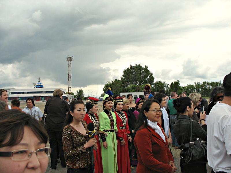Airport crowd. (Elista, Kalmykia)