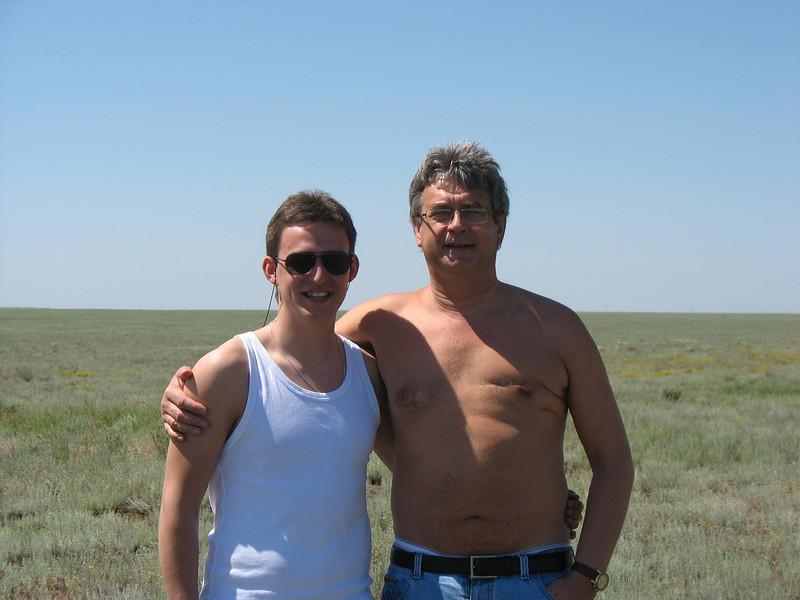 Rustem with cameraman on the steppe.