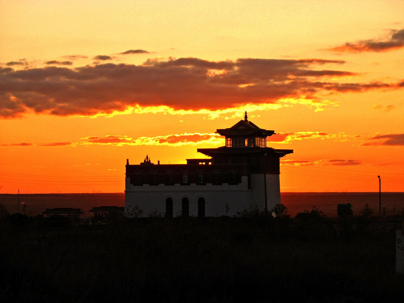 Temple sunset on the steppe.