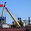 Dredging for oil in the Caspian Sea.