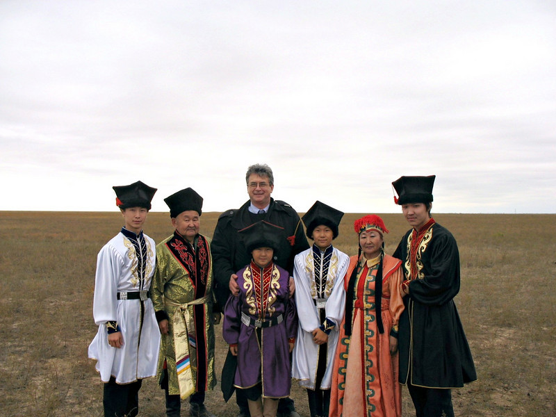 On the steppe with Kalmyk family.