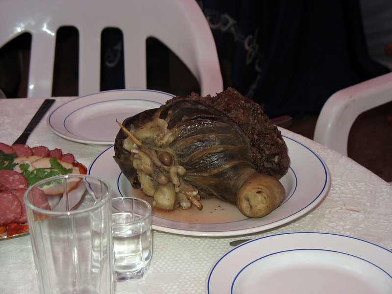 A local delicacy - A lamb's stomach stuffed with other guts.