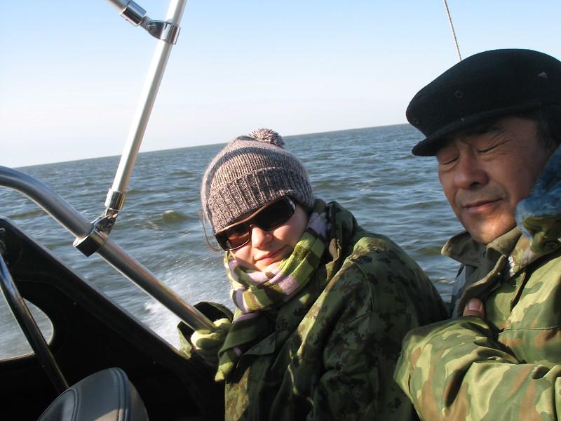 Olga bundled up on the Caspian.