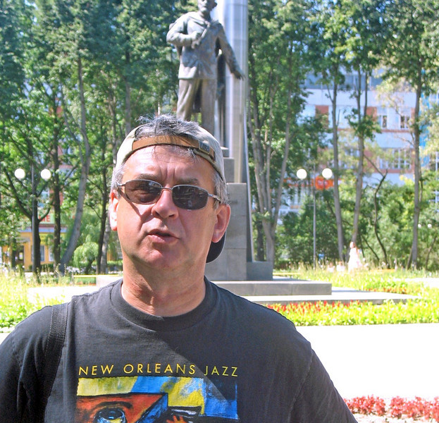 At the Tsiolkovsky monument.