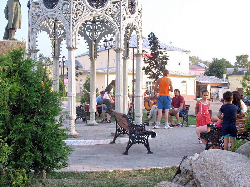 Borovsk town center on a summer day.