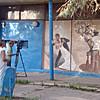Filming an Ovchinnikov mural. (Borovsk, Russia)