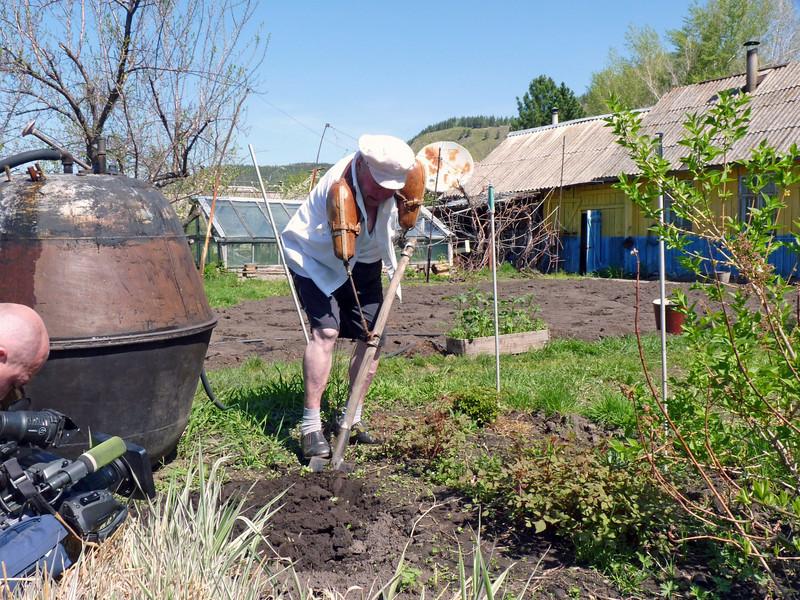 Shoveling in the garden.
