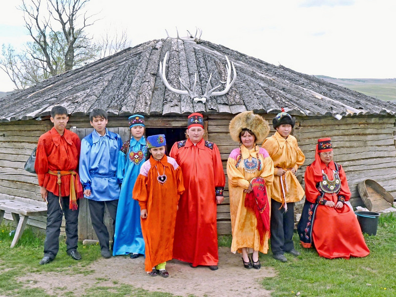 Local residents in traditional Khakass dress.
