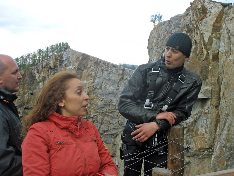 "Wafaa talking with the head of the local ""Elite Extreme"" Club - she jumped!"