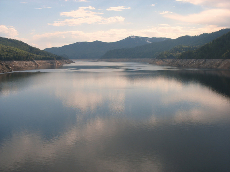 Reservoir on the other side of the dam.