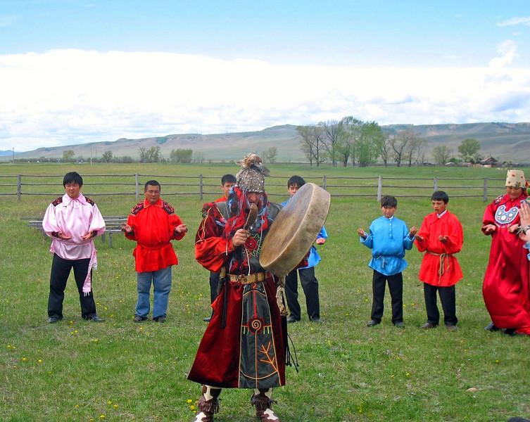 Khakass shaman welcoming the good spirits.