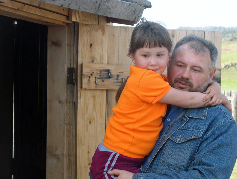 Leonid Eryomin with his daughter. He fell in love with Khakassia & has settled here.