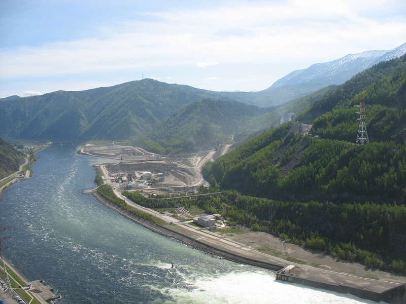 View of the Yenisei River from atop the Sayano-Shushenskaya dam.