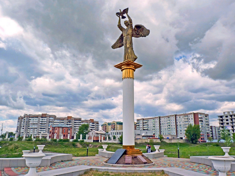 Angel of Peace monoument in Abakan.
