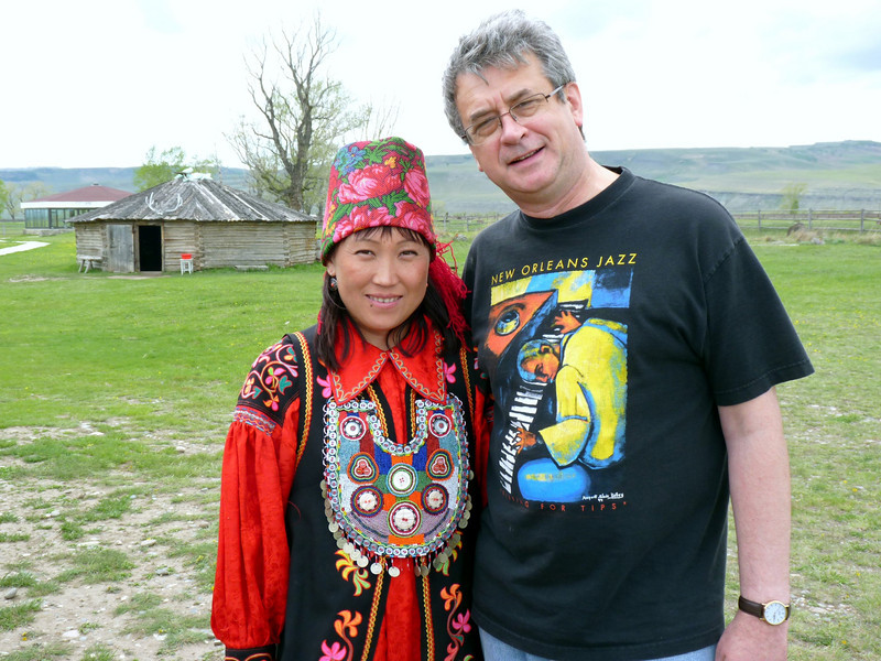 With the shaman's wife.