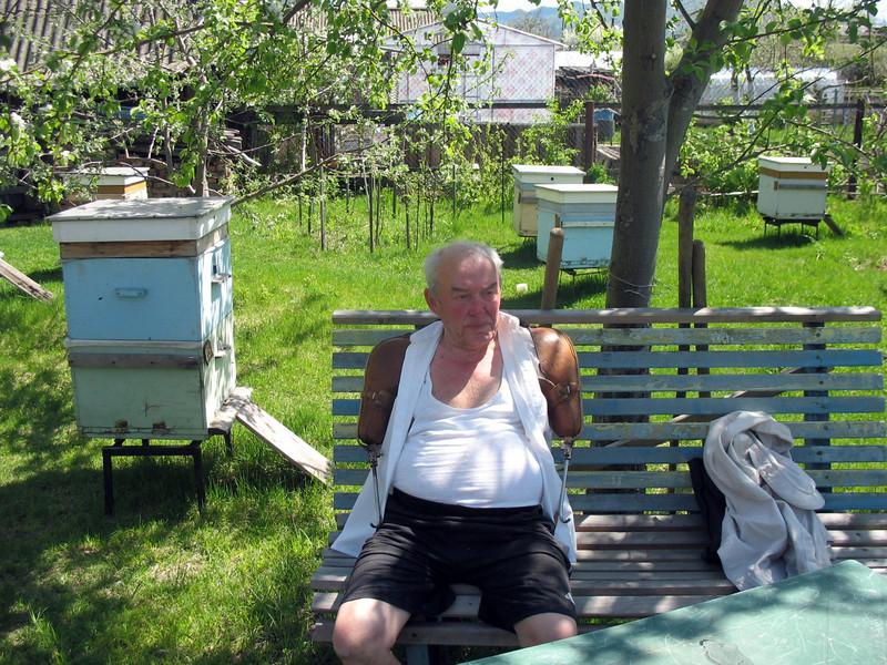 Vladimir relaxing in his garden.
