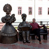 In the center of Kirov with bronze Dymkovo figures.