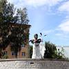Bust of writer Alexander Grina along the Vyatka River embankment.  Бюст писателя Александра Грина на набережной реки Вятка.