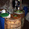 Barrels & barrels of cukes being pickled.