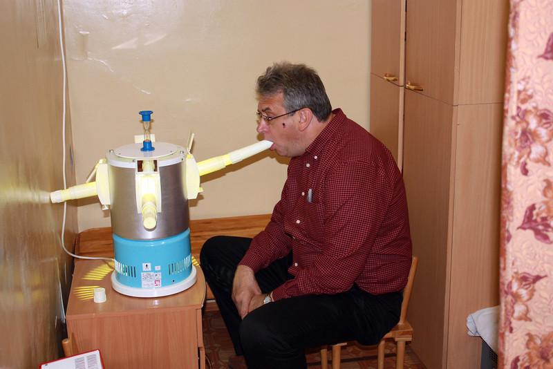 A big boy getting an inhalation treatment.