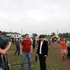 RT's Igor Ogorodnev doing a standup at the cucumber festival.