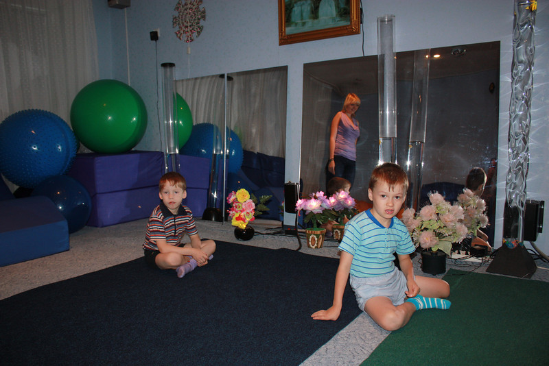 Boys in the orphanage's exercise room.
