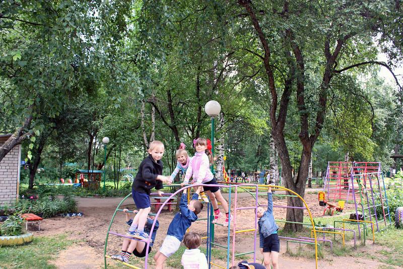 Playing outdoors at the Nadezhda (Hope) orphanage.