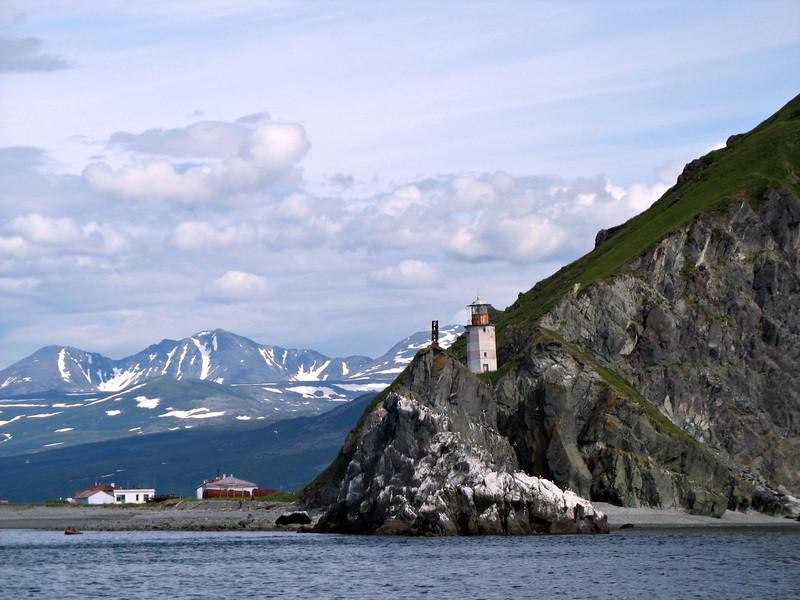 Cape Taran lighthouse, Koni Peninsula. Sea of Okhotsk, Russian Far East.