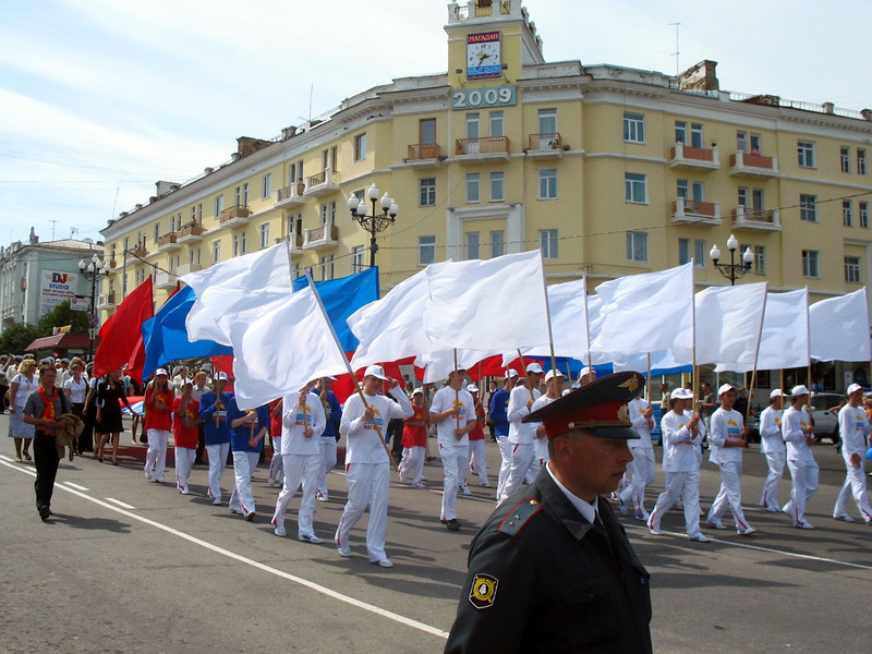 Parade celebrating 70 years of Magadan.