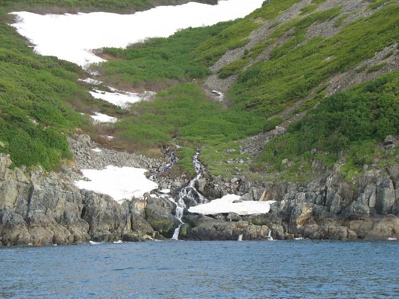 Mountain snow & waterfall.