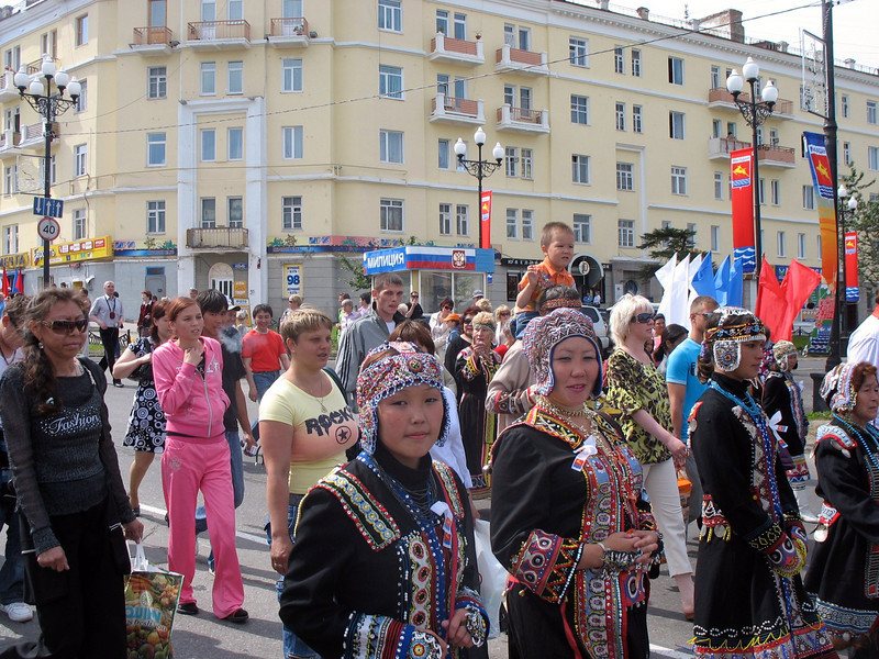 Indigenous women parading.