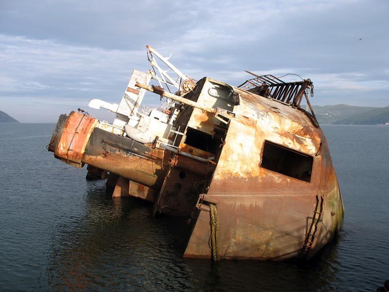 Remains of old Soviet fishing fleet. Nagayevo Bay.