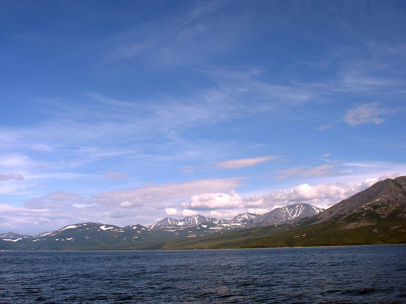 Snow capped mountains viewed from the Sea of Okhotsk.