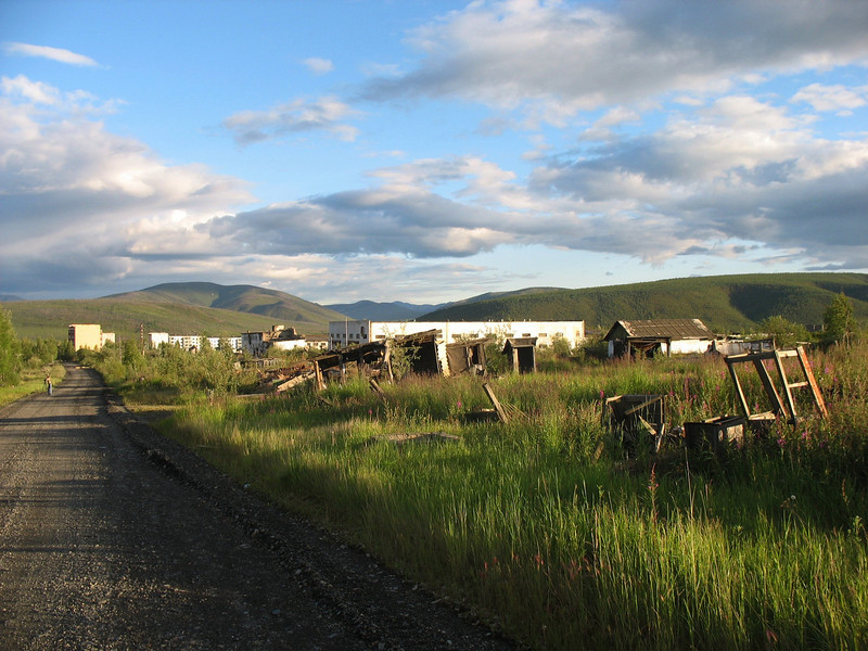 Beautiful sky over remains of a gold mining settlement. (Magadan Oblast)