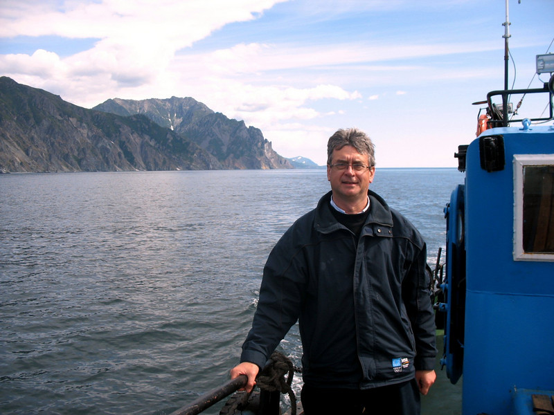 On our boat on the Sea of Okhotsk.