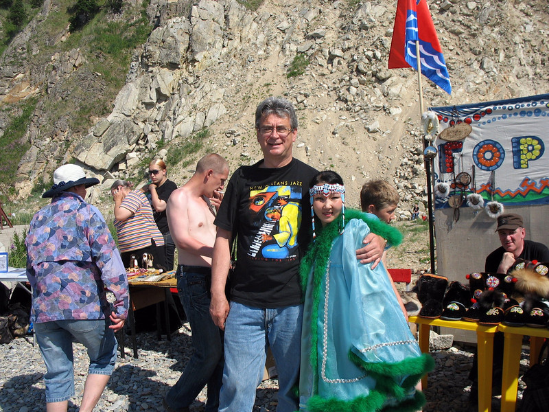 With local Evens woman. There are about 19,000 Evens (Lamuts) in Russia, mostly in the Far East.
