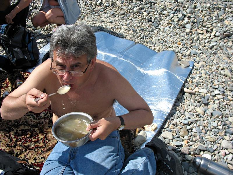 Fish soup - looks like gruel, but tasty.