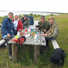 Picnicking on Lake Gorodetskoye in Pustozersk. Here we ate raw, salted reindeer meat.