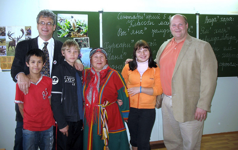 At the Nenets Boarding School in Nar'yan-Mar. The students at this state run school consist of tundra kids, orphans & children of people wo have lost their parental rights. 250 students live & study here. The woman in traditional dress is the Nenets language teacher.
