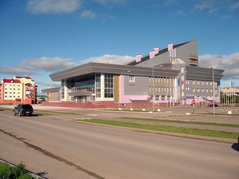 Modern building in Nar'yan-Mar, capital of the Nenets Autonomous District.