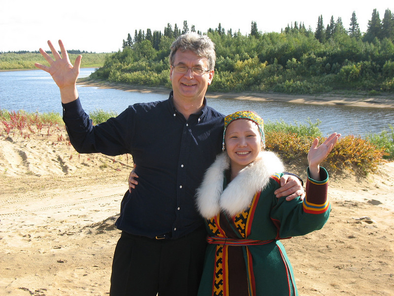 With Nenets girl on the outskirts of Nar'yan-Mar.